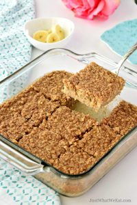 These gluten free and vegan Almond Butter Banana Baked Oatmeal Bars are delicious and so easy to make. They have a wonderful banana bread flavor with a hint of almond butter and oat flavor as well. #glutenfree #vegan #breakfast #recipe #dairyfree