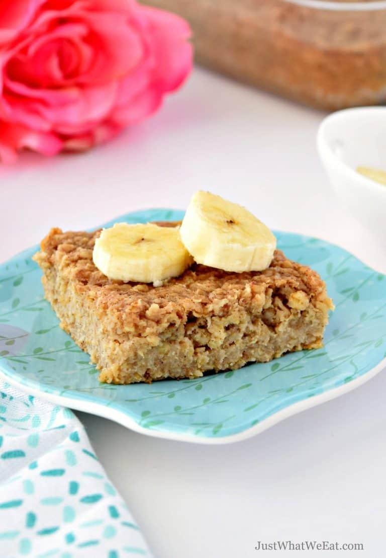 Almond Butter & Banana Baked Oatmeal Bars – Gluten Free, Vegan, & Refined Sugar Free