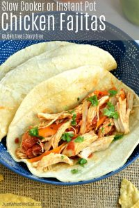 These Chicken Fajitas are so easy to make and taste incredible! This recipe uses simple healthy ingredients that can be made in the Instant Pot or slow cooker.