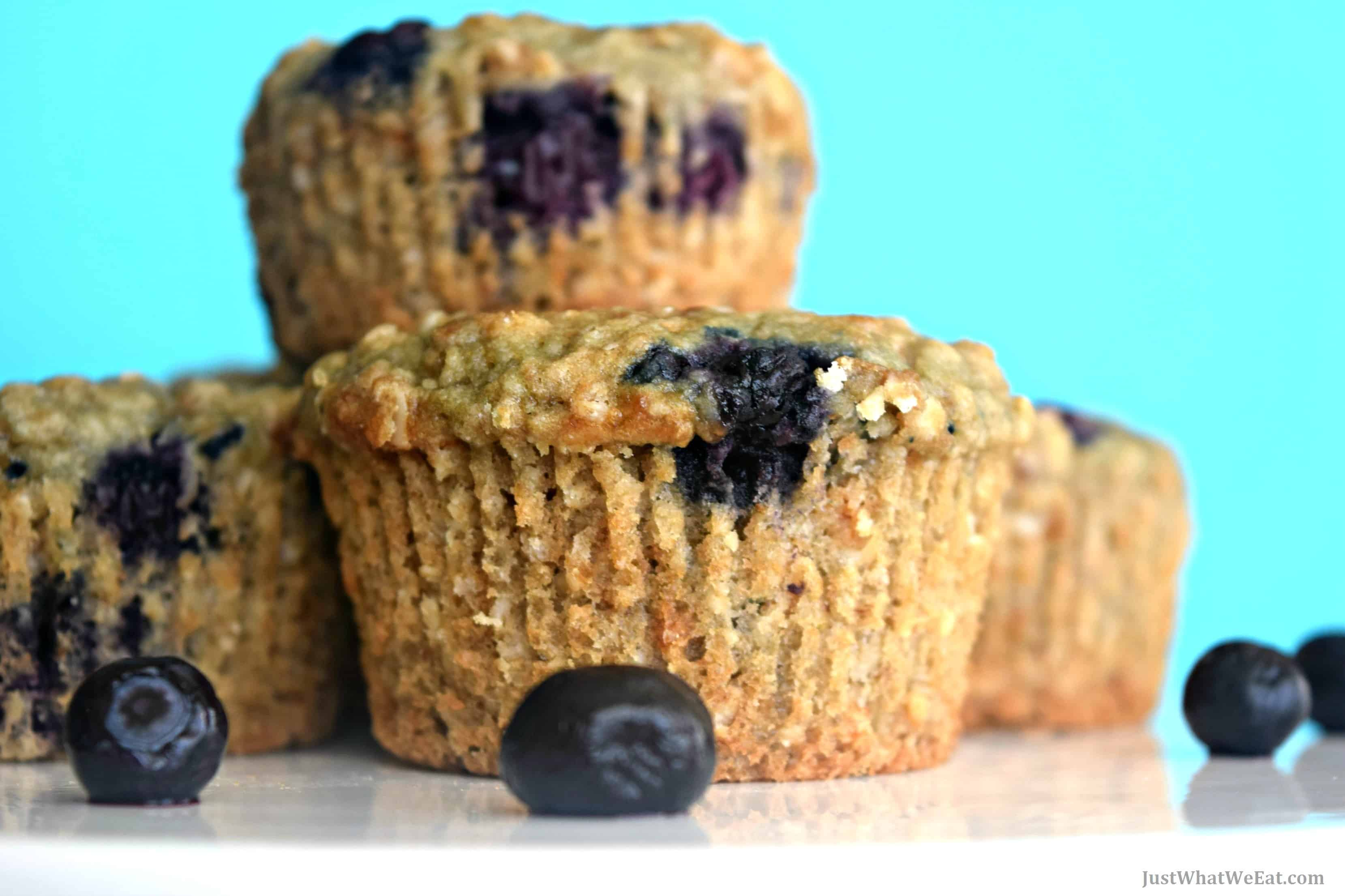 These gluten free, vegan, and refined sugar free blueberry oat muffins are delicious! The texture is soft but hearty because of the oats and the sweet blueberry flavor is exactly what I look for in a good blueberry muffin. #glutenfree #vegan #dairyfree #muffins #breakfast