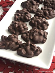 These gluten free & vegan Peanut Clusters are a wonderful treat to make for the Holidays. They are so easy to make and take almost no time at all to put together. #glutenfree #vegan #dairyfree #peanutclusters #dessert #recipes #christmas