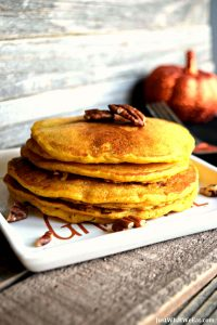 These Pumpkin Waffles and Pancakes are amazing! They are gluten free, vegan, refined sugar free, and the same batter can be used to make pumpkin pancakes or waffles. #glutenfree #vegan #dairyfree #pancakes #waffles #pumpkin #fall