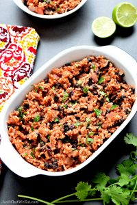 Mexican Beans and Rice that are gluten free, vegan, and dairy free