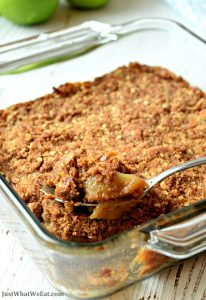 This gluten free and vegan apple crisp is the perfect dessert! It's the perfect amount of sweetness and the warm spices give the apples so much flavor! It's also refined sugar free making it a healthy apple crisp! #glutenfree #dairyfree #vegan #fall #recipes #apple #refinedsugarfree