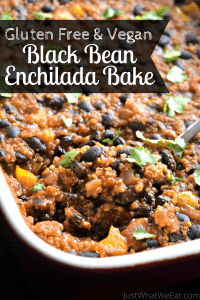 This black bean enchilada bake is one of my favorite gluten free and vegan casseroles! It comes together really quickly and has an amazing flavor! #glutenfree #dairyfree #vegan #dinner #easy #pantry
