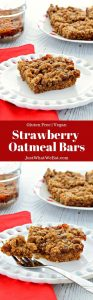 These Strawberry Oatmeal Bars are such a delicious gluten free and vegan dessert! They are so easy to make and come together in 30 minutes!