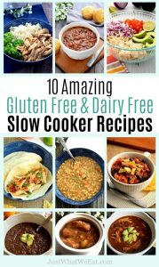 These 10 slow cooker meals are gluten free, dairy free, and taste amazing! They are also super easy to make! #glutenfree #dairyfree #slowcooker #easy #recipes