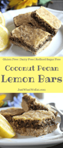 Coconut Pecan Lemon Bars - Gluten Free, Dairy Free, & Refined Sugar Free