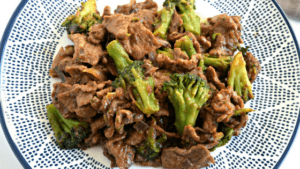 This Beef and Broccoli is so easy to make and tastes amazing! The sauce has so much flavor! It's also gluten free, dairy free, and soy free. #glutenfree #dairyfree #chinesefood #soyfree #easy