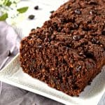 This Double Chocolate Zucchini Bread is SO delicious and chocolaty! It's gluten free and vegan and works great for breakfast, dessert, or a snack! #glutenfree #dairyfree #vegan #zucchinibread #chocolate #recipe