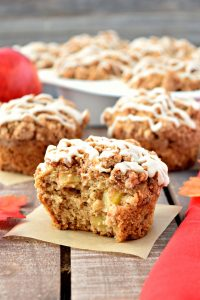 These gluten free and vegan Apple Crumble Muffins are the perfect breakfast treat for Fall! The sweet crumble topping combined with the warm apple cinnamon flavor is delicious! #glutenfree #dairyfree #vegan #muffins #fall #recipes