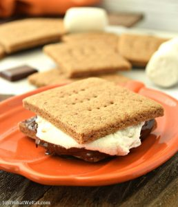 These gluten free and vegan S'mores are amazing! The graham crackers taste wonderful and who knew it was so easy to make chocolate bars!? I can't wait to make more at our next bonfire! #glutenfree #dairyfree #vegan #smores #fall #recipes