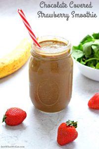 Chocolate Covered Strawberry Smoothie - Gluten Free, Vegan, Dairy Free, Refined Sugar Free