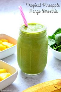 Tropical Pineapple Mango Smoothies - Gluten Free, Vegan, Dairy Free, Refined Sugar Free
