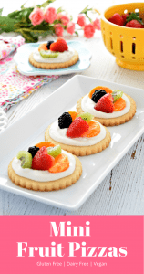 These vegan and gluten free fruit pizzas are so delicious! They are also super easy to put together making them the perfect treat for any occasion! #glutenfree #dairyfree #vegan #easter #recipes #spring #dessert