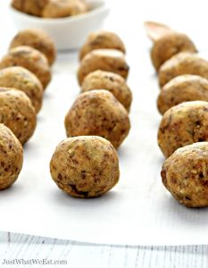 Maple Peanut Butter Energy Balls that are gluten free, vegan, dairy free, and refined sugar free