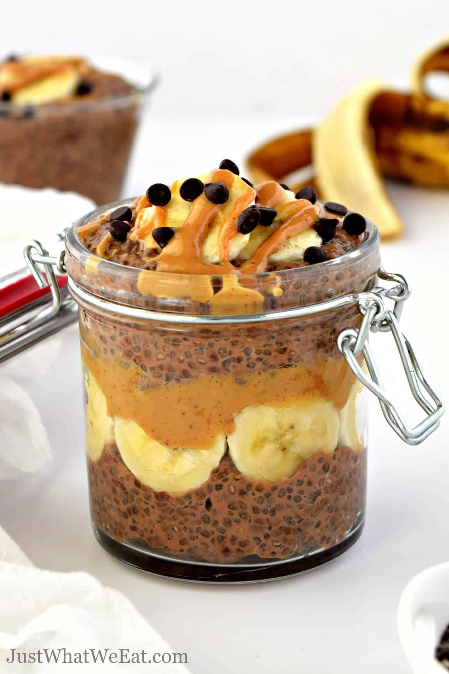 This Chocolate Peanut Butter and Banana Chia Pudding recipe is so delicious and takes about 5 minutes to prep! It's gluten free, vegan, and makes a perfect healthy snack or breakfast!