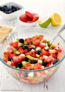 This homemade Fruit Salsa is the perfect summertime treat! It's naturally gluten free and vegan and tastes amazing! It's also super easy to make!
