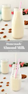 Not only is making almond milk super easy, but it also tastes so much better than store bought almond milk! It only requires 2 ingredients and takes 5 minutes to prep! This homemade almond milk is also vegan and gluten free!