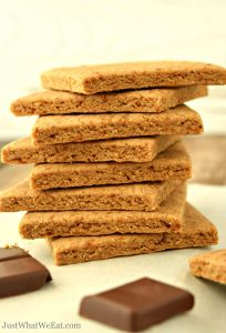 These vegan and gluten free Graham Crackers taste amazing! They are super easy to make and taste even better than the store bought graham crackers!