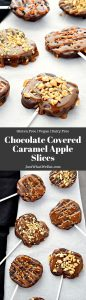 Chocolate Covered Caramel Apple Slices - Nothing quite says Fall like Caramel Apples! These Chocolate Covered Caramel Apple Slices are a delicious take on traditional caramel apples. They are gluten free, vegan, and taste incredible! #glutenfree #dairyfree #recipes #fall #fallrecipes #caramelapples #vegan