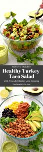 This gluten free and dairy free Turkey Taco Salad is the perfect healthy meal! It's super easy to make and works great for meal prep or a quick weeknight dinner. #glutenfree #dairyfree #dinner #recipes #healthy #tacosalad