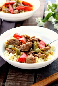 This Pepper Steak recipe is such an easy way to enjoy Chinese food at home! It can be made in a slow cooker or instant pot and is gluten free, dairy free, and soy free. #glutenfree #dairyfree #instantpot #slowcooker #crockpot #dinner #recipes