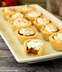 These gluten free, vegan, and refined sugar free Pumpkin Pie Bites are one of my favorite Holiday desserts! The crust is buttery and flaky and the filling has the most delicious pumpkin and warm spice flavor!#glutenfree #vegan #dairyfree #pumpkinpie #desserts #recipes