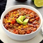 This Taco Soup is so easy to make and can be made in the Instant Pot or slow cooker. It uses simple healthy ingredients and is packed with so much flavor! #glutenfre #dairyfree #soup #taco #instantpot #slowcooker