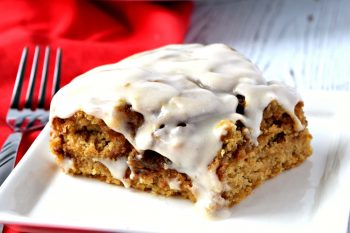 This gluten free and vegan Cinnamon Roll Cake has a wonderful soft texture and has a delicious cinnamon sugar swirl in every bite! #glutenfree #vegan #dairyfree #cinnamonroll #cake #dessert