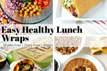These gluten free and vegan Lunch Wraps are super easy to make and taste amazing! They all use simple healthy ingredients making them a perfect lunch option! #glutenfree #vegan #dairyfree #lunchideas #wraps #easy #recipes