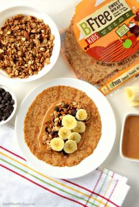 This gluten free and vegan Peanut Butter Banana Granola Wrap is so delicious and easy to make! It's an awesome treat for lunch or even an afternoon snack. #glutenfree #vegan #dairyfree #eggfree #lunchideas #snack