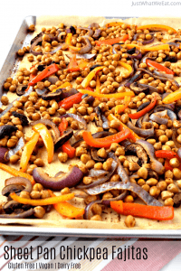 These gluten free and vegan sheet pan chickpea fajitas are so easy to make and are packed with flavor! They are made with simple healthy ingredients making them a great dinner option for any night of the week! #glutenfree #dairyfree #vegan #dinner #easy #sheetpan