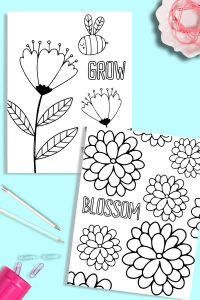 These free printable flower coloring pages are perfect for all ages! They are so cute and are sure to brighten your day! #coloringpages #printable #free #kidactivities #flower