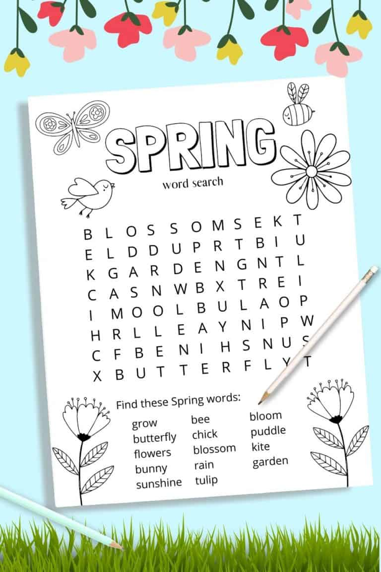 Spring Printable Word Search for Kids