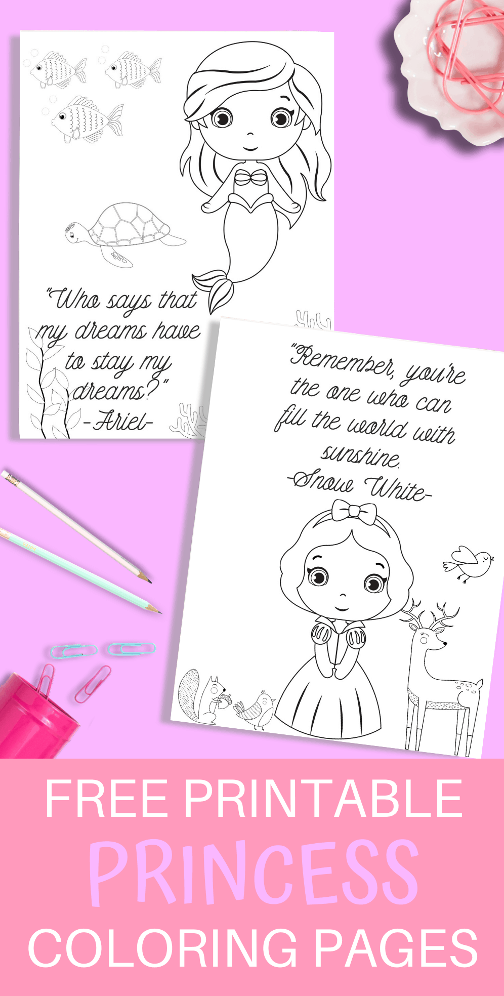 These free princess printable coloring pages are so much fun to do with your kids! Just print them out and start coloring! #coloringpages #free #printable #kidactivities #fun #princess