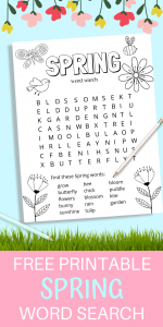 This free spring printable word search for kids is such a fun activity to keep kids busy. Not only do they get to do a word search but they can also color the page for even more fun! #wordsearch #free #printable #kidactivities #funactivities