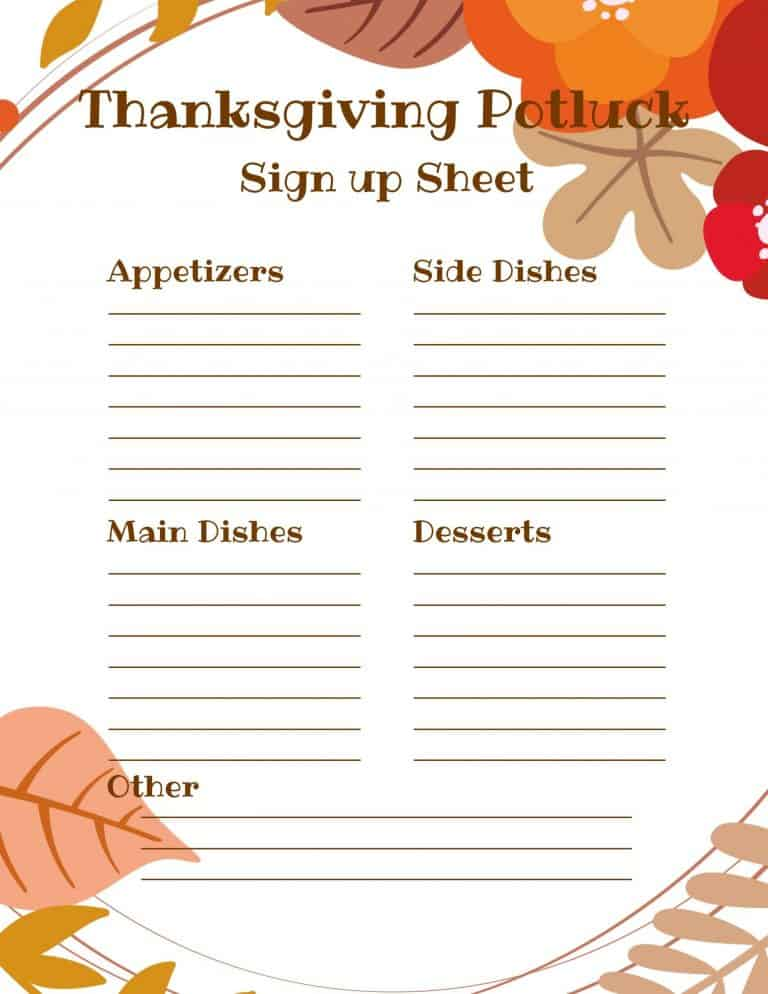 Thanksgiving Potluck Sign Up Sheet