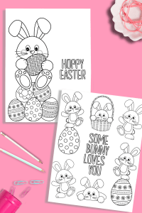These free Easter printable coloring pages are perfect for all ages! Your kids will love coloring these cute bunnies, chicks, and eggs this Easter! #coloringpages #free #printable #easter #crafts #kidactivities