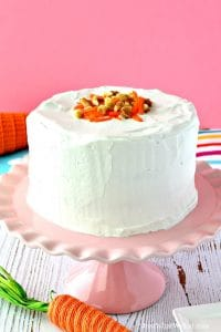 This gluten free and vegan Carrot Cake recipe is so easy to make and tastes wonderful! It's the perfect Easter dessert that everyone will enjoy. #glutenfree #dairyfree #vegan #eggfree #carrotcake #healthy #dessert