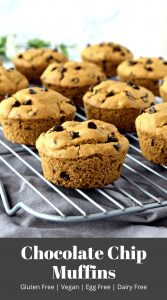 These gluten free and vegan Chocolate Chip Muffins are so easy to make and have the best soft texture! They taste delicious and are an awesome breakfast treat! #glutenfree #dairyfree #vegan #eggfree #muffins #recipes