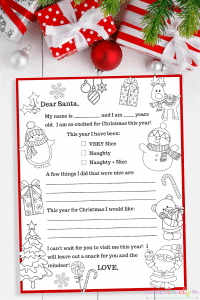 Your kiddos will love creating a personal Letter to Santa! Have your kids fill out this FREE printable Letter to Santa Template each year! They become an awesome keepsake to look back on when kids are older. #lettertosanta #santaletter #freeprintable #christmasprintable #christmaslettertosanta